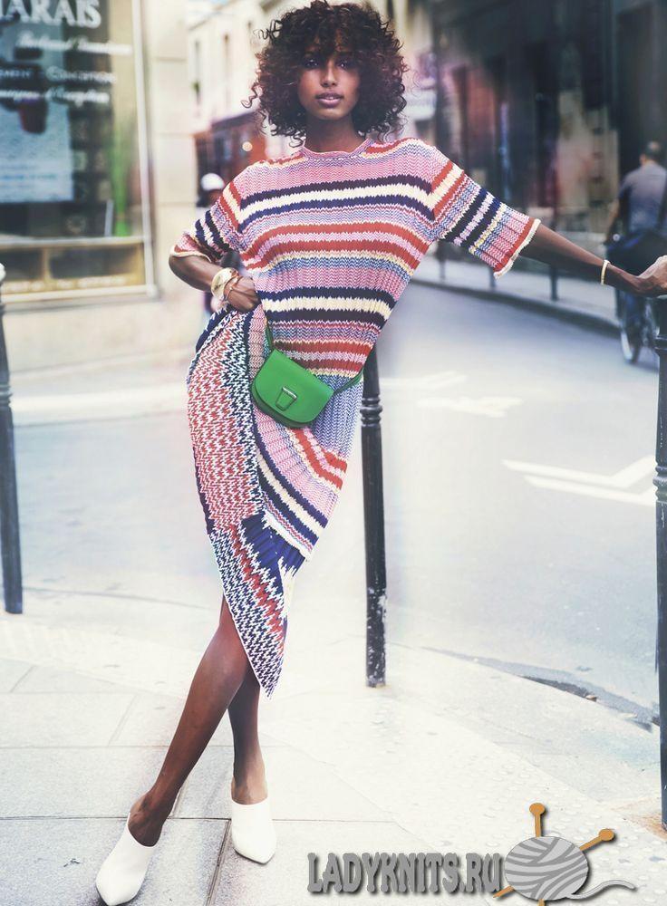 Модные вязаные вещи в полоску