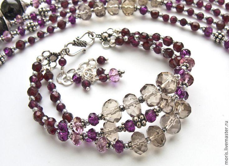 """Купить Гранатовый браслет из серебра """"Бургундия"""" топазы ... - браслет с раухтопазом, многорядный браслет, браслет из серебра"""