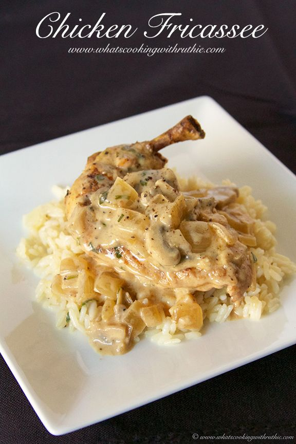 Chicken Fricassee is a savory classic dish I learned in culinary school! by www.whatscookingwithruthie.com #recipes #chicken