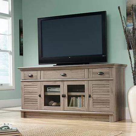 """Sauder Harbor View TV Stand for TVs up to 70"""", Salt Oak"""