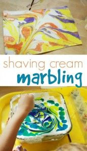 Shaving Cream Marbling with Liquid Watercolors
