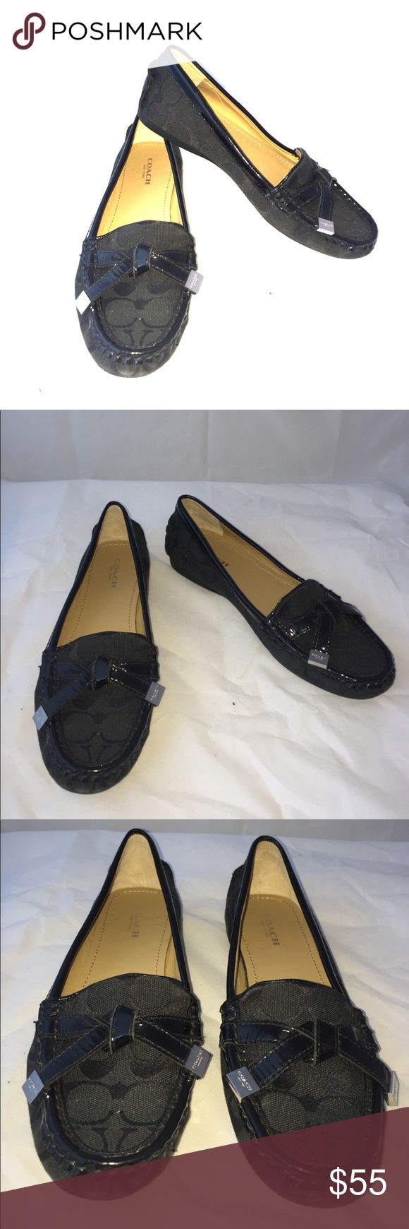 "Black ""FRIDA"" COACH Loafers Size 7B These are in practically new condition. Black Cloth with a patent leather trim.  Size 7 B. Very very comfortable. Make me an offer or bundle up. Coach Shoes Flats & Loafers"