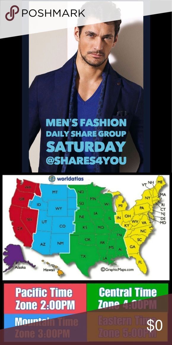 12/23 SAT Men's Fashion Daily Share Group MEN'S FASHION DAILY SHARE GROUP Share 💙 8 💙Items from each closet signed up Sharing Begins at 5a.m. EST Sign Up Closes at 5p.m. EST 🚫NO Signs unless requested  🚫NO Repeats ( unless they don't have 8 Items ) NON-Compliant Closets will 🚫NOT🚫Be Shared Share ALL in order. If you need to mark your spot use: *** EX: @shares4you*** Complete your Shares and Sign Out by 12A.M. EST IF YOUR NEW.. PLEASE ADD.. 🆕 Men's Other