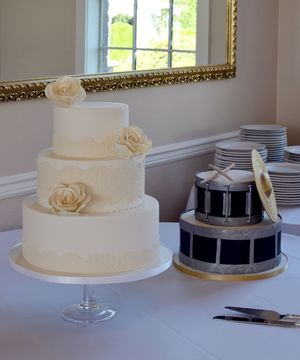 Lace and Roses Wedding Cake and Drum Set Groom's Cake