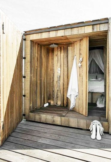 ☆    guest bedroom cabin with outdoor shower and wooden hinged barn door