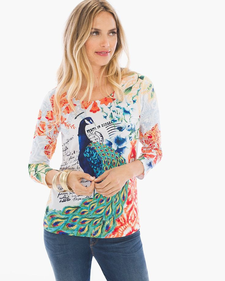 Chico's Women's Peacock Floral Tee, Multi, Size: 4 (20/22 XXL)