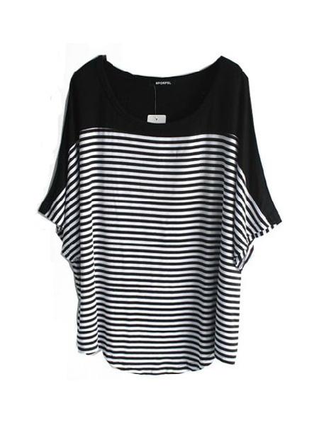 #SheInside Black And White Stripe Round Neck Half Sleeve Curved Hem T-Shirt