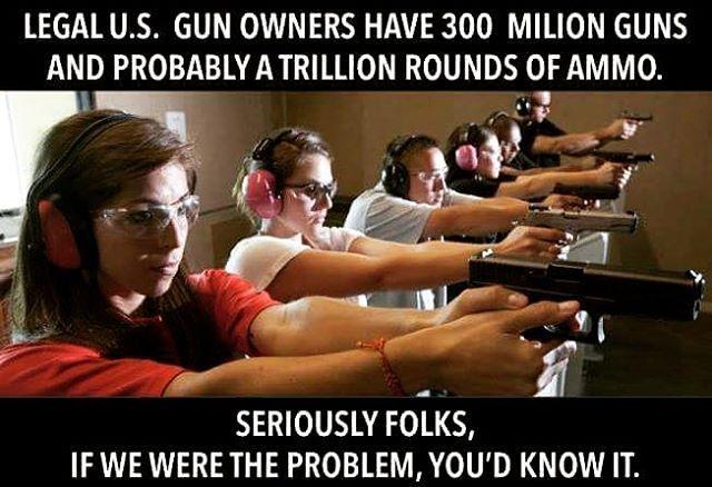 If we LEGAL gun owners were the problem, trust us, you'd know it. ~@guntotingkafir