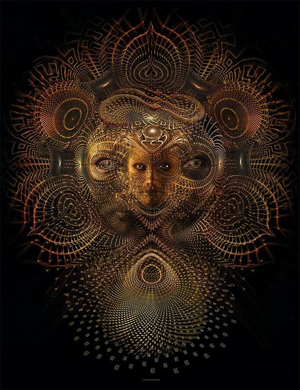 Luminokaya is a psychedelic illustrator who explores shamanistic ritual, transcendental states of consciousness and sacred geometry in his works, making it ideal for viewing during a ride on the TIMEWHEEL.