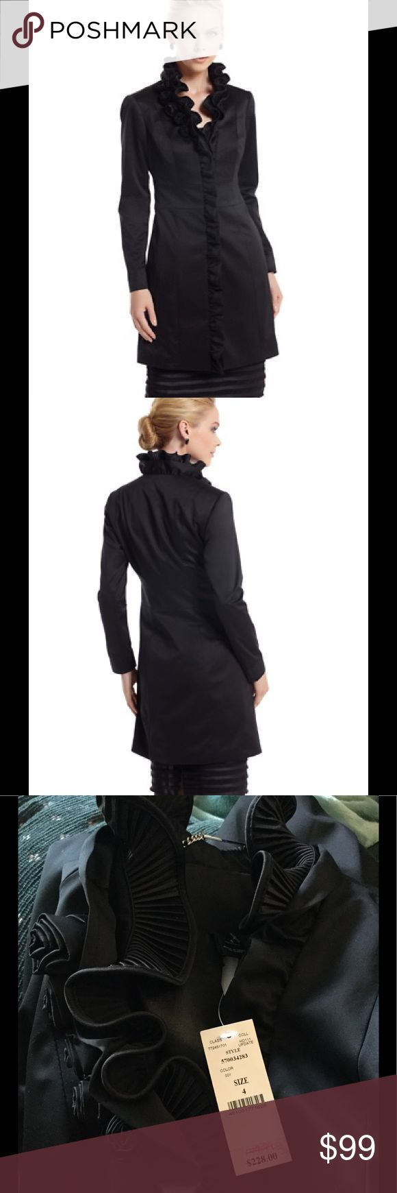 "🆕 WHBM pleated collar satin topper Accordion pleats ruffle the neckline of this sleek satin coat with rosebuds. 100% Polyester. Machine wash or dry clean. Imported.  Contour fit.  Hidden snaps close the placket.  Fully lined.  Underarm across 17"". Length 33"".  Brand new with tag. Retail price $228.  Smoke free and pet free. White House Black Market Jackets & Coats"