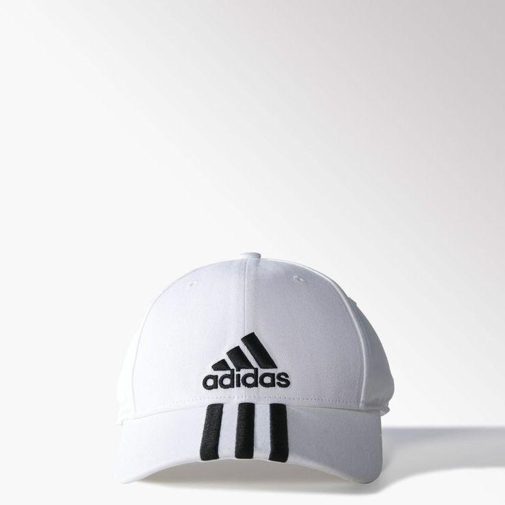 *New* Adidas Originals White Classic Performance 3-Stripes Baseball Cap - hat #adidas #BaseballCap