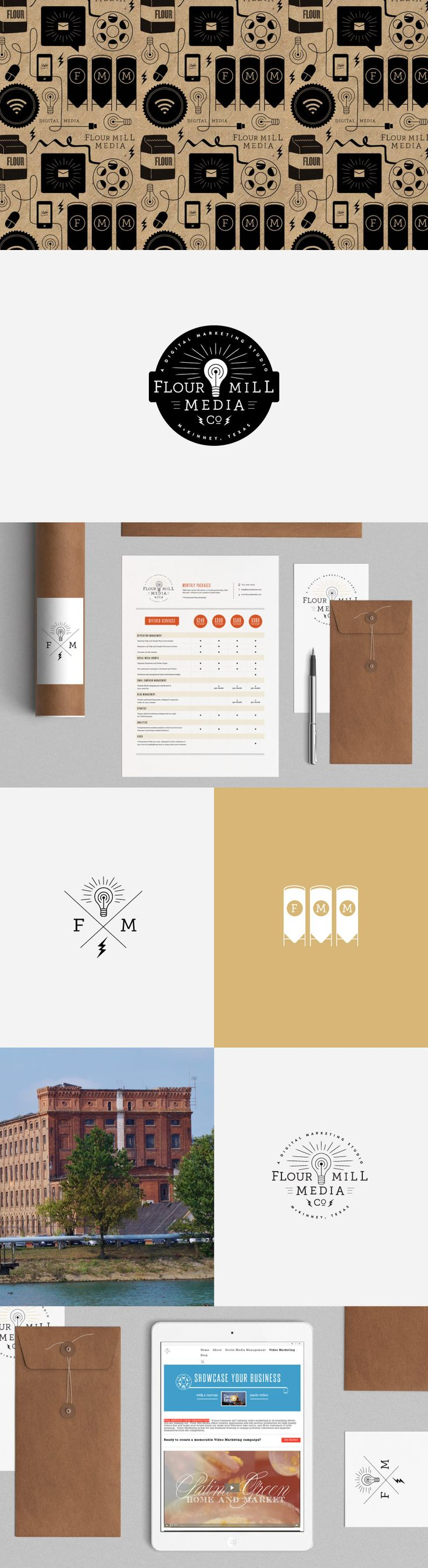 Flour Mill Media Branding by October Ink - Indie digital media being rebranded with a classic, vintage, good ol' boys look. Logo, secondary logo, kraft or craft paper pattern, web banners for slideshows, and illustrated graphics and design elements.