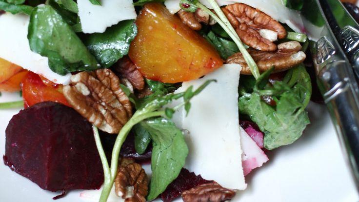 Salade de betteraves rôties, de cresson et de pacanes