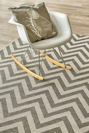 Grey Herringbone (2.4 X 3.4): Water-resistant, durable poly-propylene woven flatweave (2.4 x 3.4m). Make a sta...