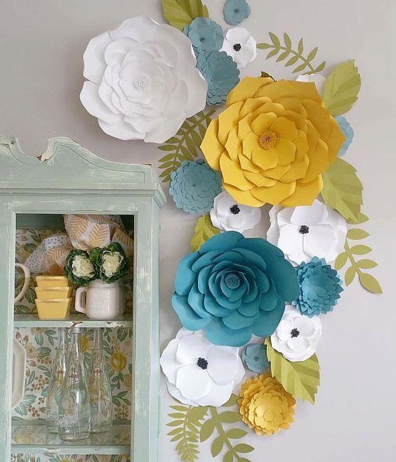 Telón de fondo de flores de papel / papel flores //Home Decor //Flower pared…
