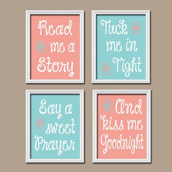 Cute Aqua Coral Kiss Me Goodnight Quote Crib Nursery Song Print Artwork Set of 4 Prints Wall Decor Art Picture