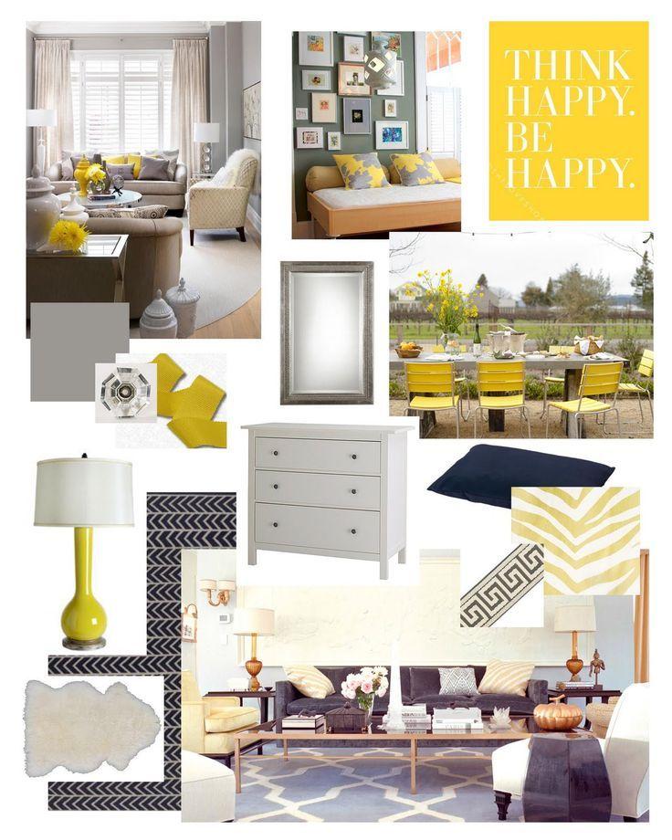 yellow, navy, gray bedroom