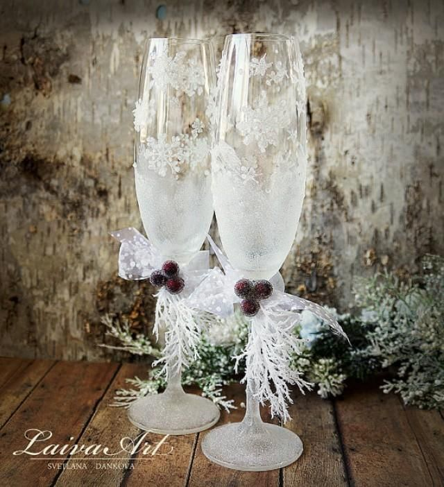Wedding Champagne Glasses Winter Wedding Christmas Wedding Holiday Wedding…