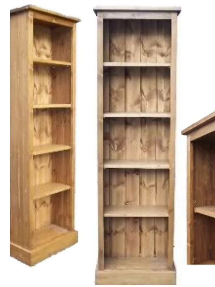 Details About Solid Pine Bookcase Hand Made 5ft Tall Adjule Display Narrow Shelving Unit