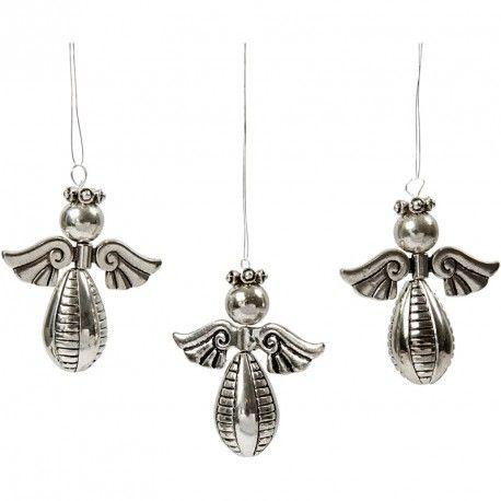 Engel ornamenten hoogte: 5,5 cm breedte: 4,5 cm 4 stuks zilver