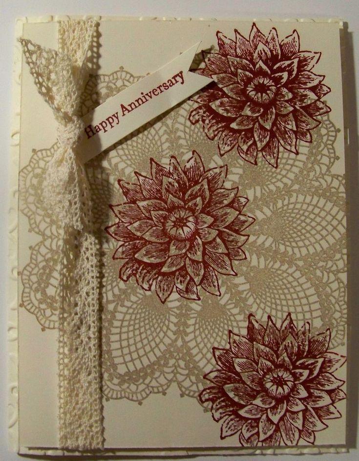 Pretty Lacy Print Happy Anniversary Card...