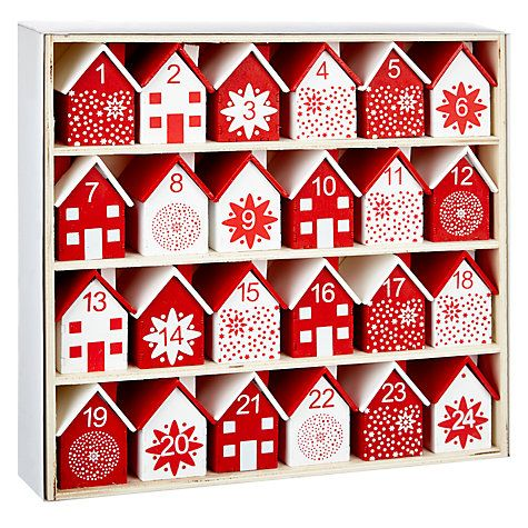 Buy John Lewis Wooden Houses Advent Calendar, Red & White Online at…