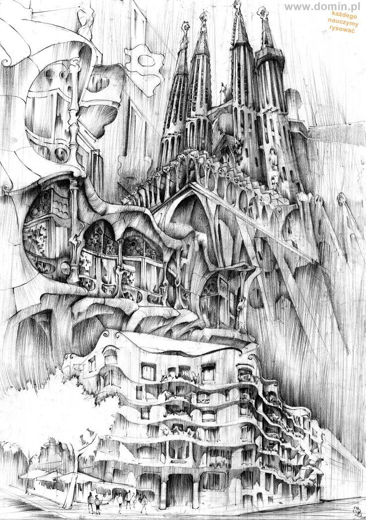 Plansza o twórczości Antonio Gaudiego wykonana w technice ołówka. #gaudi #barcelona #art #illustration #naukarysunku #domin #drawing #rysunek #sketchbook #pencil #ołówek #kursrysunku #howtodraw #jakrysować
