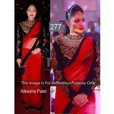 nikesha-patel-awesome-designer-saree-in-net-pallu