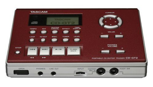 Tascam CDGT2 Guitar Trainer by Tascam. $124.99. Amazon.com                Featuring an improved compact design, the Tascam CD-GT2 guitar trainer allows artists, musicians, students, and music teachers to practice, learn and teach fast licks, rhythm parts and solos from their favorite artists. It offers comprehensive LCD display with graphical user interface, album title/track title indication by CD-Text, expanded effect banks for user preset, chromatic tuner.   The Tascam CD-GT2 ...