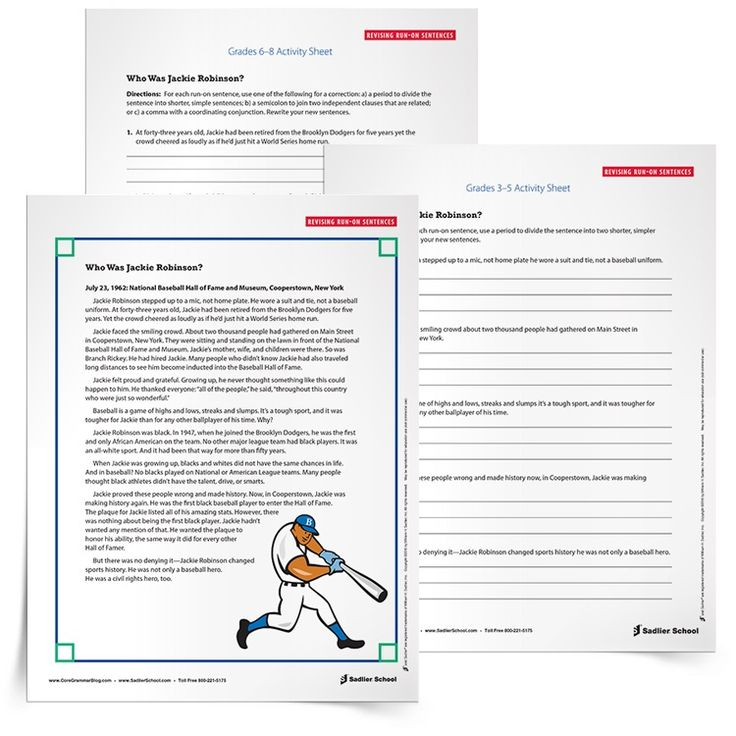 Download a Run-on Sentence Practice Activity: Students must be able to self-monitor & identify a run-on sentence in order to correct run-on sentences