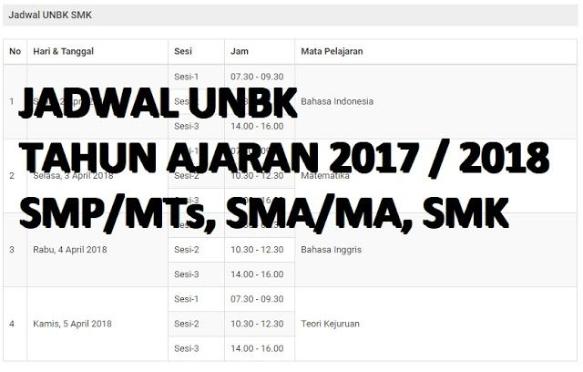 Jadwal Lengkap UNBK 2018 SMP/Mts, SMA, SMK Dari Kemdikbud