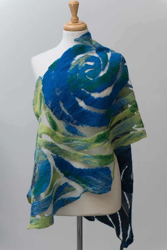 Nuno felted scarf, felted scarf, felt scarf, Nuno felt,silk scarf, wool, silk, Green, Navy blue, spiral pattern, delicate