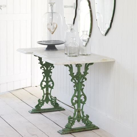 Antique Marble Console Table-Green