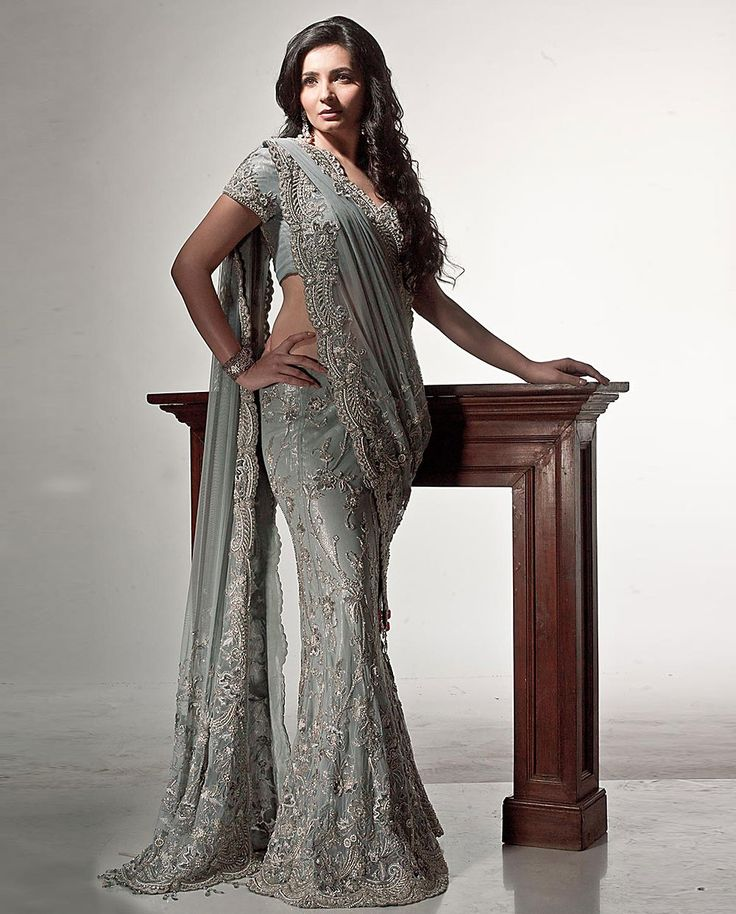 Grey Color Lehenga Sari With Beads And Crystals Work .Is Now At www.ladyselection.com
