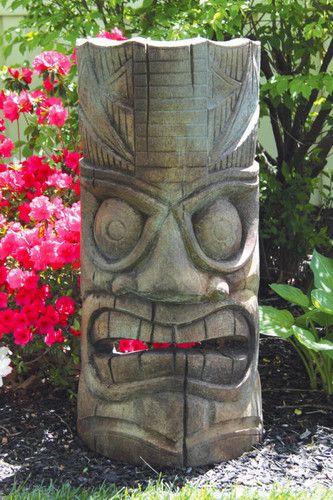 Island Tiki Face Garden Sculpture Artwork