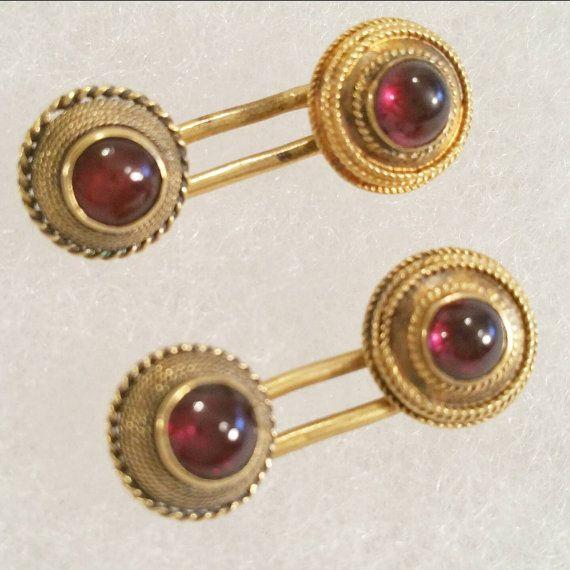 Antique 14k Garnet Toggle Button Cufflinks by LadyandLibrarian
