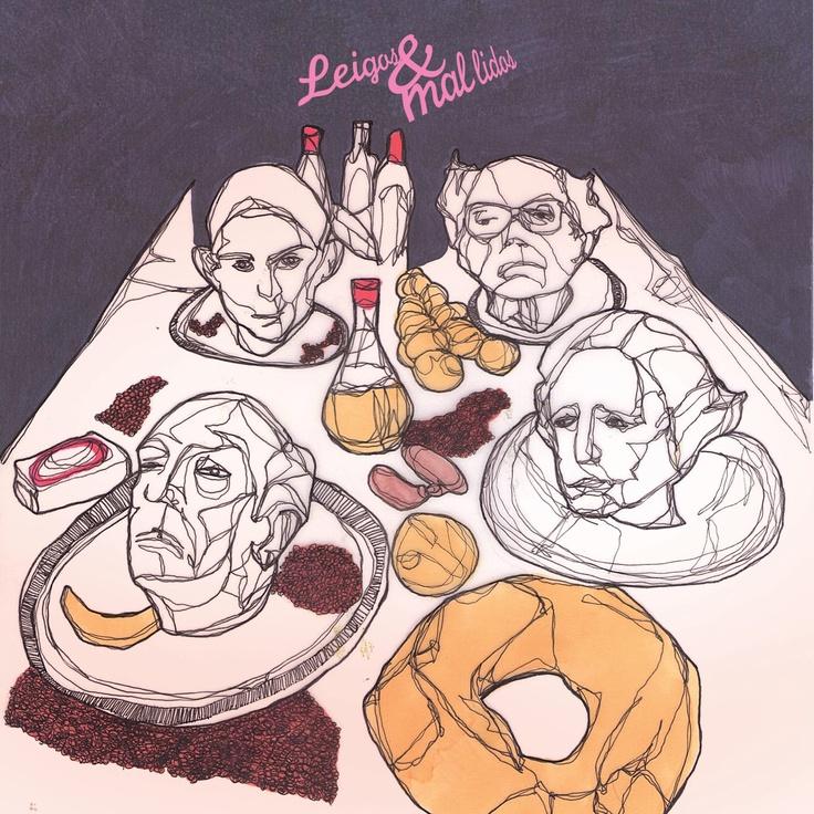"""Capa do primeiro vinil dos Secos & Molhados, recriada para o livro """"Canções para ninar adultos"""" com Kafka, Saramago, Carrol e Borges no lugar dos músicos"""