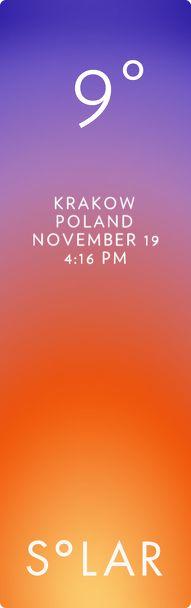 Krakow weather has never been cooler. Solar for iOS.