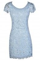 Aris Crochet Lace Capsleeve Pencil Dress in Baby Blue