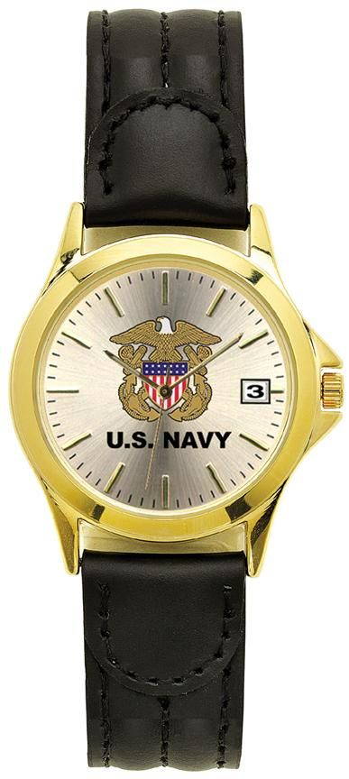 Aqua Force Elegant Navy Insignia Watch w/ Brown Leather Strap (30M water resistant)