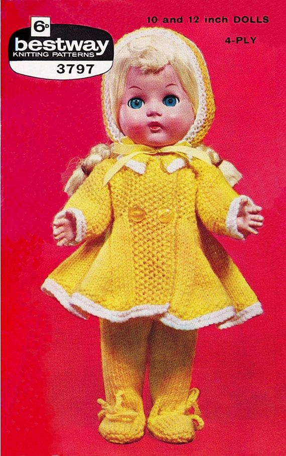 PDF Vintage Doll Clothes Knitting Pattern Bestway 3797 1950s