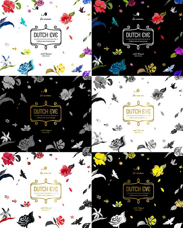 DUTCH COFFEE flowers pattern package 더치커피 꽃 패턴 패키지 on Behance