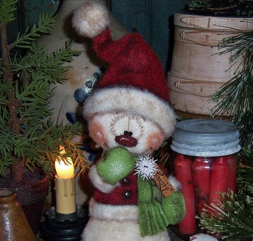 "Primitive Frosty Snowflake Christmas Ornie 9"" Snowman Doll ★ Vtg Patti's Ratties"