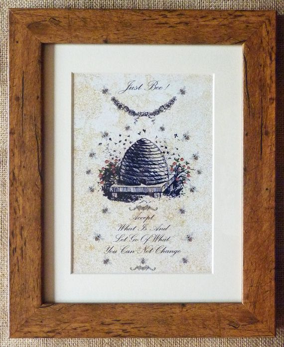 Bee Picture Bee Print Framed Bee Quote Vintage style Bee Picture - A great bee gift! 'Just Bee' - lovely mottled aged effect background