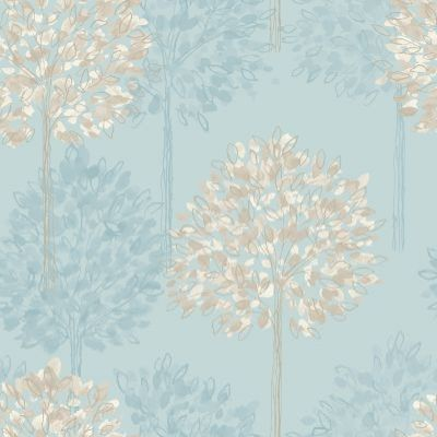 Boulevard Teal (417906) - Arthouse Wallpapers - A pretty dappled leaf all over tree design with a hand drawn style and metallic inks. Shown here in shades of teal blue green and beige. Please request sample for true colour match.