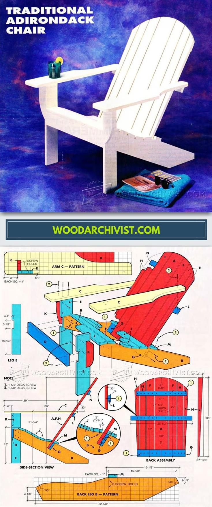 Traditional Adirondack Chair Plans - Outdoor Furniture Plans and Projects | WoodArchivist.com