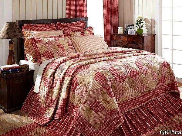 Breckenridge 3pc Red & White Plaid Patchwork Quilt Bedding Set KING Quilt Shams #VHCBrands #RusticPrimitive