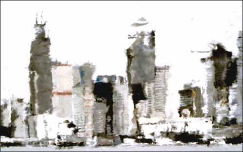 Philippe Cognée, Hong kong, 2002, 97x157cm
