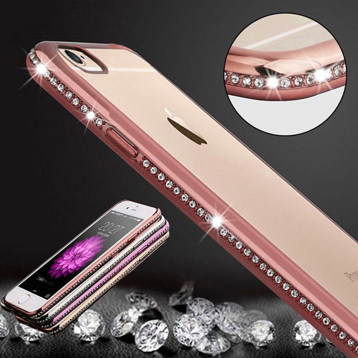 Soft Bumper Crystal Bling Diamond Chrome TPU Gel Silicone Case Cover For iPhone in Mobile Phones & Communication, Mobile Phone & PDA Accessories, Cases & Covers | eBay