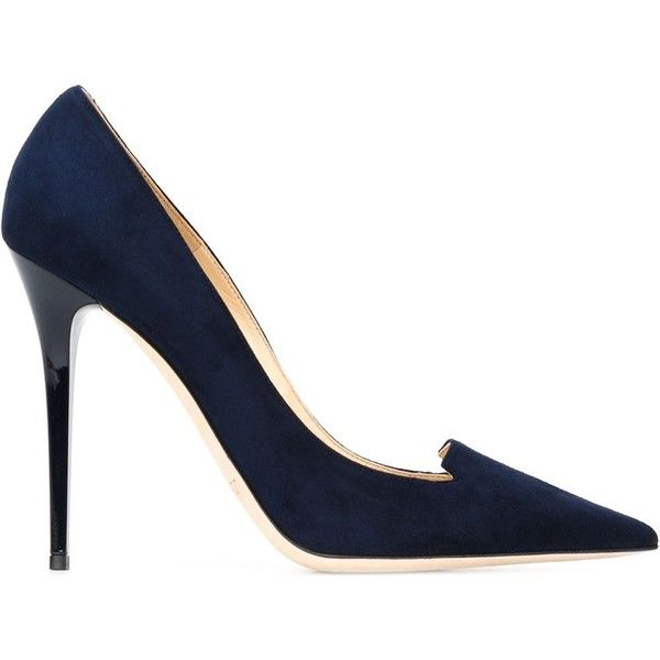 Jimmy Choo Ari Pumps ($545) ❤ liked on Polyvore featuring shoes, pumps, heels, blue, high heels stilettos, blue shoes, blue pumps, pointy-toe pumps and suede pointed-toe pumps